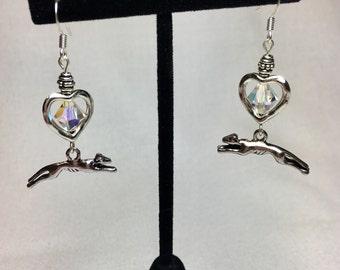 Running Greyhound Crystal Heart Earrings