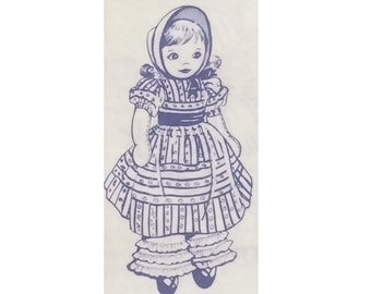 "Vintage Cloth Doll Pattern - Design 580 - Little Girl Doll - Dress, Bloomers, Bonnet - Mail Order Transfer Pattern - 12"" Doll"