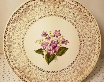 Cunningham and Pickett (USA) 22kt Warranted Spring Violets Display Plate