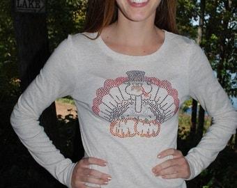 Thanksgiving rhinestone  bling shirt,  XS, S, M, L, XL, XXL Happy Thanksgiving Pumpkin Oatmeal long sleeve shirt