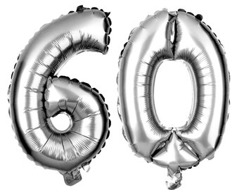 60 Number Balloons, 60th Birthday Party Balloons, 60 Balloon Numbers, 60 Party Supplies, 60th Birthday Decorations, Decor, 16 Inch Silver