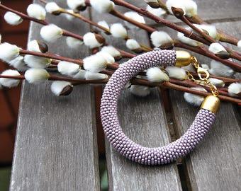 """Pearl bracelet """"Purple"""" jewelry seed beads crochet beads purple gold gift"""
