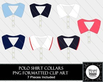 Polo Shirt Collars - 7 Piece Clip Art - Buttoned Shirt Collars - PNG Formatted #103