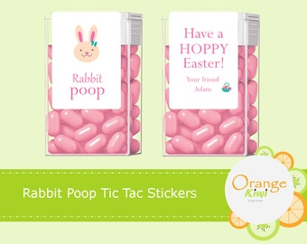 Rabbit Poop Tic Tac Labels, Easter Tic Tac Stickers, Party Favor Tic Tac Labels, Bunny Treats, Easter Favors, Easter Gift Labels