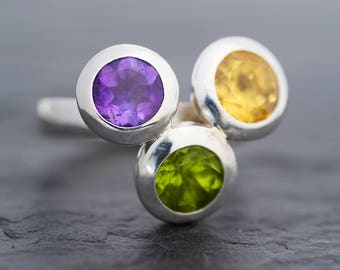 Peridot Ring-Citrine Ring-Amethyst Ring-925 Sterling Silver-Peridot Amethyst Citrine Three Stone Ring-Silver Statement Ring-Ready to Ship