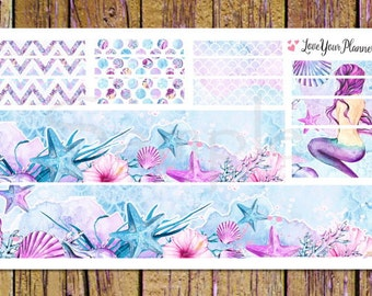 LAVENDER MERMAID Bottom Washi and Washi Strips Planner Stickers Washi Planner Stickers Washi Stickers Mermaid Planner Mermaid Stickers W102
