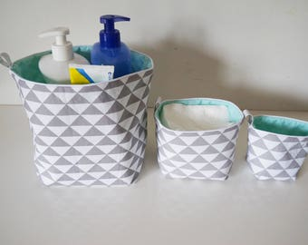 Set of 3 reversible cotton fabric baskets