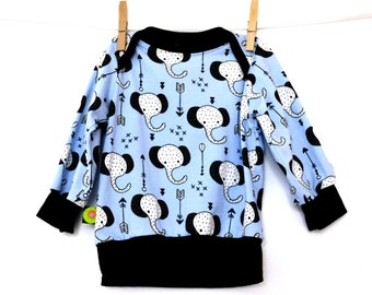T-shirt baby / child easy pull-on 'elephants' (from 6 months to 4 years)