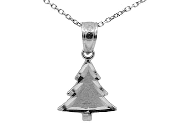 14k White Gold Christmas Tree Necklace