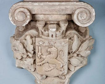 Antique French Architectural Cement Corbel with Lion [815]