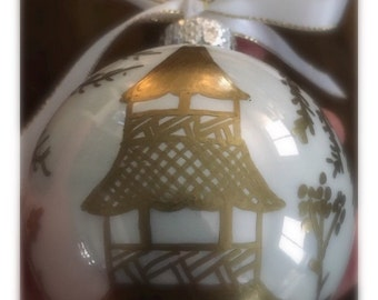 Chinoiserie Ornament - Gold, Hand Painted, Christmas, Holiday, Hostess, Housewarming, Gift, pagoda
