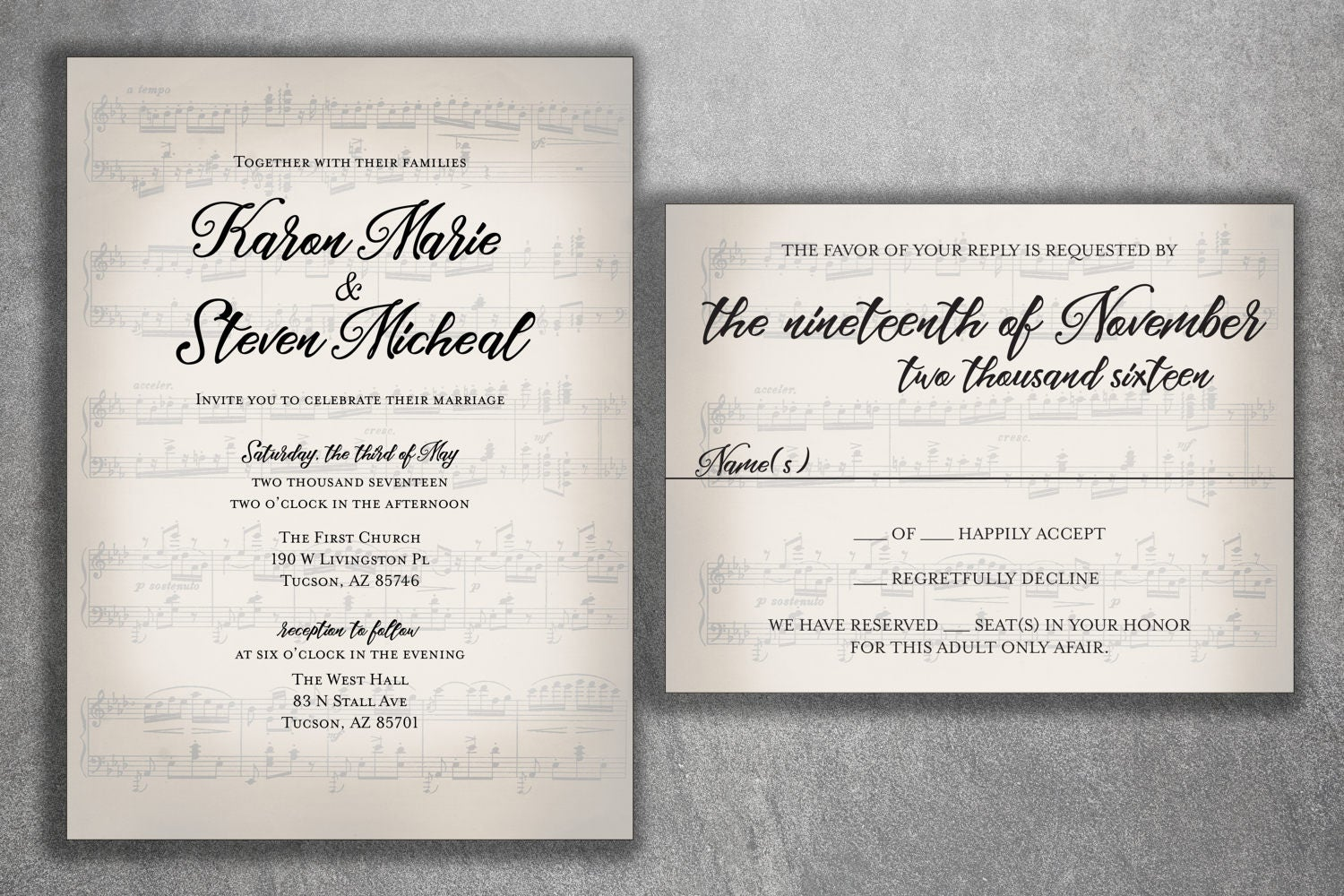 Musical Wedding Invitation Set Printed Sheet Music RSVP Notes Invite With Song