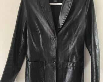 Real classical jacket from genuine leather lightweight jacket, vintage retro style long jacket women's black color size extra small.