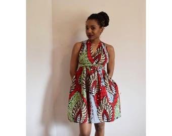 Red african print mini.