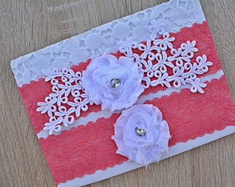 Coral Garter, Wedding Garter Set, Flower Garter, Lace Wedding Garter, Bridal Garter, White Wedding Gift, Handmade Garter, Bridal Garter Set