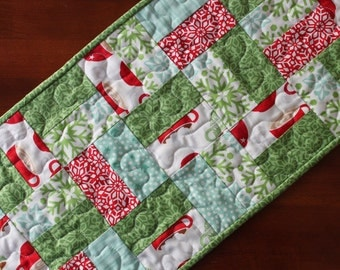 Quilted Christmas Table Runner, Aqua Christmas Table Runner, Small Handmade Table Runner, In From The Cold, Aqua Red Green White, Snowflake
