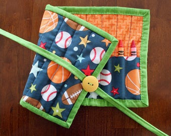 Sports Crayon Holder, Basketball Crayon Tote, Play Ball, Boy Crayon Roll Up, Art Supplies, Blue Green Orange, Baseball, Football Tote