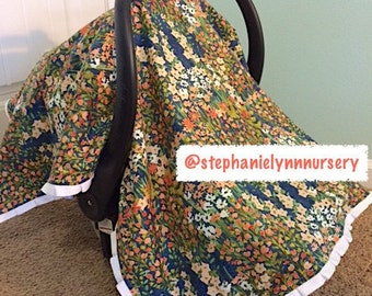 READY TO SHIP;  Car seat Canopy, Car seat Cover, Baby girl car seat canopy;  Ruffled car seat canopy