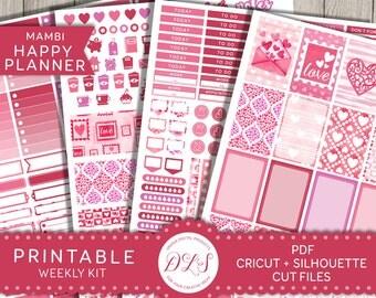 Valentine's Planer Stickers, Happy Planner Valentines Stickers, Happy Planner Printable Stickers, February Weekly Kit, Love Stickers, HP114