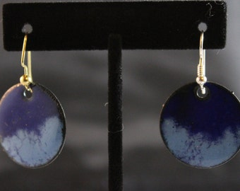 Blue on Blue Enameled Earrings (022017-037)