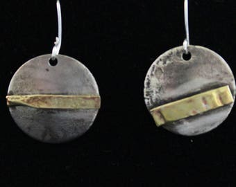 Sterling silver etched earrings with brass overlay. (05212017-014)