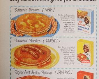 Aunt Jemima Pancake Mix ad.  1956 Aunt Jemima Pancake Mix ad.  Sunset Magazine.  November 1956.