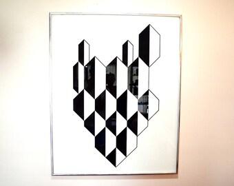 Mid Century Retro Vintage Geometric Art Painting