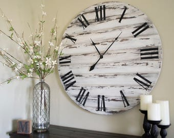 "36"" Large Distressed Wall Clock, Painted Clock, Wood Clock, Oversized Clock"