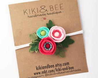 Stella // Petite Poppy Headband // Felt flower crown headband // Turquoise, Bright Coral and Pale Pink //