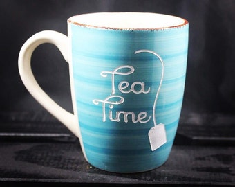 Tea Time Mug - Tea Mug - Etched Ceramic