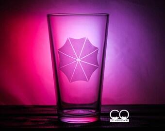 Resident Evil Pint Glass - Umbrella Corp - Pilsner Glass - Weisner Glass - Wine Glass - Gift Ideas - Gifts - Gifts for him - Gamer