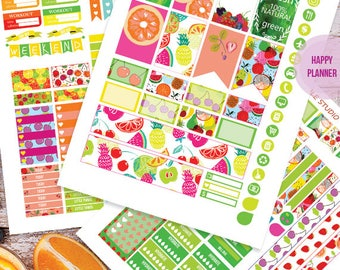 Fruit Planner Stickers Printable, Fruit HAPPY PLANNER  MAMBI , Monthly/Weekly Kit, Printable Sampler, Happy planner kit, Instant download