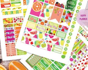 Fruit Planner Stickers Printable, Fruit HAPPY PLANNER  MAMBI , Monthly/Weekly Kit, Printable Sampler, Happy planner kit, Instant download