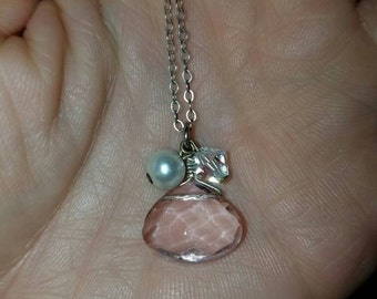 Pink crystal pearl and swarovski crystal necklace 925 sterling silver