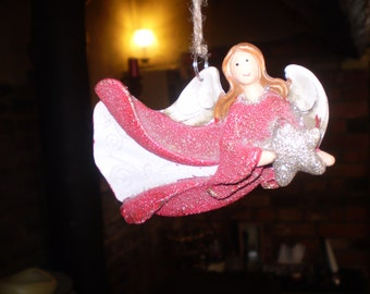 Danish Ceramic Flying Christmas Angel with Star,Hanging tree or window decoration
