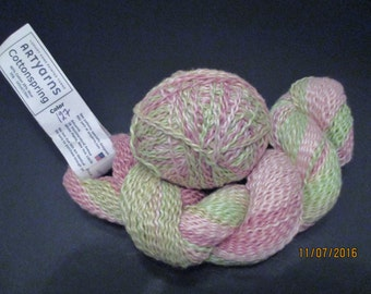 Artyarns Yarn, Cottonspring Yarn, Pink and Green Yarn, Crinkle Yarn, Textured Yarn, Hand Dyed Yarn Color 127 Yarn