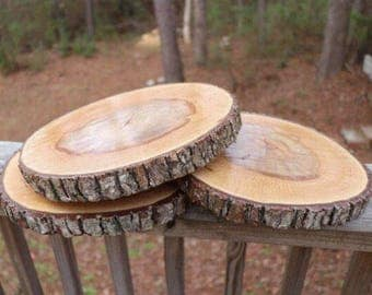 11 Inch treated wood slices, wedding reception decor, wood rounds, wedding reception centerpieces, wood, center pieces!