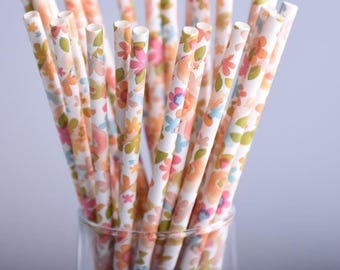 Vintage Retro Floral Paper Straws Pk of 25 / Garden Floral Party Straws / Vintage Tea Party / Bridal Shower / Baby Shower / Wedding