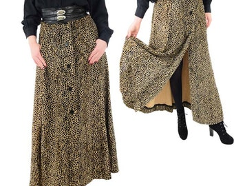 70s Cheetah Print Velvet Maxi Skirt-Animal Print Skirt-Med-1970s Button Front Maxi Skirt-Woolf Brothers- Sport Trio by Rikki Label