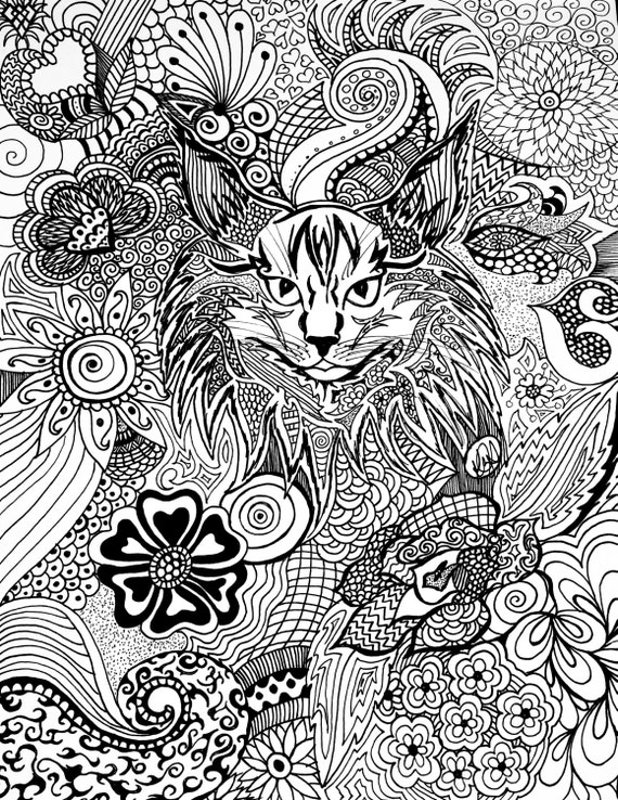 Items similar to Adult Coloring Page, Custom Detailed ...