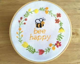 Modern Cross Stitch Pattern - Funny Quote - Bee Happy - Counted Cross Stitch Design - PDF - Instant Downlaod