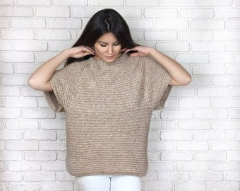 Ready to ship! Hand Knitted merino wool sweater - Oversized sweater - Knitted beige sweater - Open Back Knitted Sweater - Backless sweater