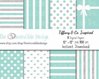 Tiffany & Co. Glitter Inspired digital paper pack for scrapbooking, Making Cards, Tags and Invitations, Instant Download