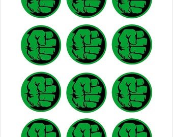 Edible Hulk Themed Cupcake Cookie Toppers