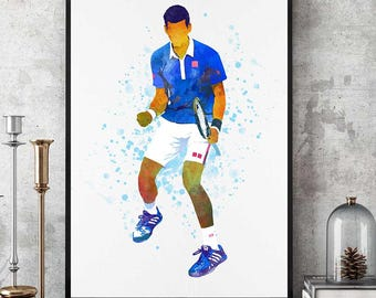 Novak Djokovic Poster, Novak Djokovic Print, Nole Fan Art, Tennis Gifts,  Novak Djokovic Art, Tennis Champion Print, Sports Prints (N036)