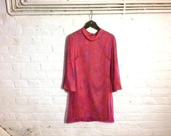 Vintage 1960s Silk Chiffon Pink Mini Dress with Psychedelic Optical Print - PSYCH MOD SIXTIES - Uk 8 Eu 36