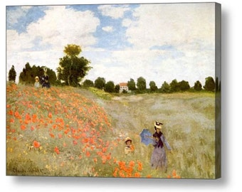 "John William Waterhouse ""Poppy Fields "" Canvas Box Art A4, A3, A2, A1 ++"