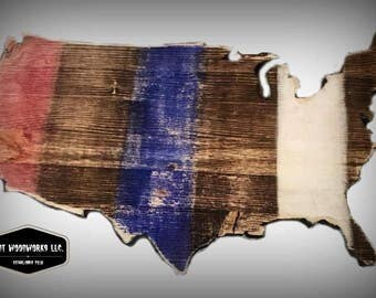 USA Cutout Wood Art- Red White & Blue -Rustic - Made to Order