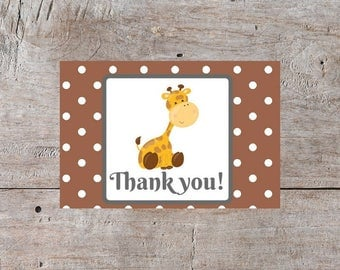 Baby Thank You Cards, Giraffe Card, Cute Thank You Cards, Baby Shower Thank You, Thank You Cards, Giraffe Thank You Cards