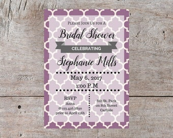 Custom Invitation, Purple Wedding Invitations, Bridal Shower Invite, Printable Invitation, Birthday Invitation, Anniversary Invitation